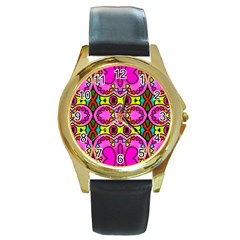 Love Hearths Colourful Abstract Background Design Round Gold Metal Watch by Simbadda
