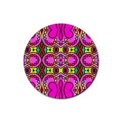 Love Hearths Colourful Abstract Background Design Rubber Coaster (round)  by Simbadda