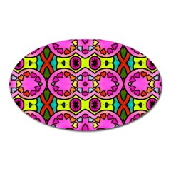 Love Hearths Colourful Abstract Background Design Oval Magnet by Simbadda