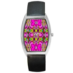 Love Hearths Colourful Abstract Background Design Barrel Style Metal Watch by Simbadda