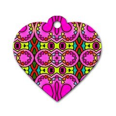 Love Hearths Colourful Abstract Background Design Dog Tag Heart (one Side) by Simbadda