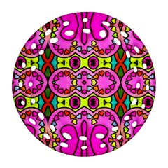 Love Hearths Colourful Abstract Background Design Ornament (round Filigree) by Simbadda