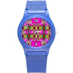Love Hearths Colourful Abstract Background Design Round Plastic Sport Watch (s) by Simbadda