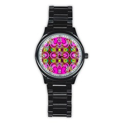 Love Hearths Colourful Abstract Background Design Stainless Steel Round Watch by Simbadda