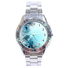 Feathery Background Stainless Steel Analogue Watch by Simbadda