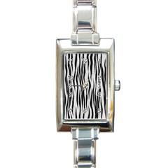 Black White Seamless Fur Pattern Rectangle Italian Charm Watch by Simbadda