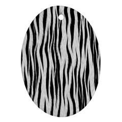 Black White Seamless Fur Pattern Ornament (oval) by Simbadda