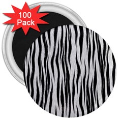 Black White Seamless Fur Pattern 3  Magnets (100 Pack) by Simbadda