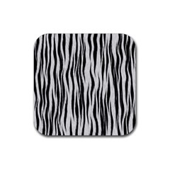 Black White Seamless Fur Pattern Rubber Square Coaster (4 Pack)  by Simbadda