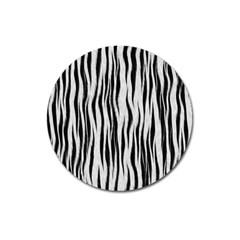 Black White Seamless Fur Pattern Magnet 3  (round) by Simbadda