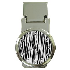 Black White Seamless Fur Pattern Money Clip Watches by Simbadda
