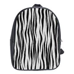 Black White Seamless Fur Pattern School Bags(large)  by Simbadda