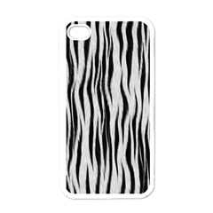 Black White Seamless Fur Pattern Apple Iphone 4 Case (white) by Simbadda