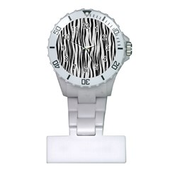 Black White Seamless Fur Pattern Plastic Nurses Watch by Simbadda