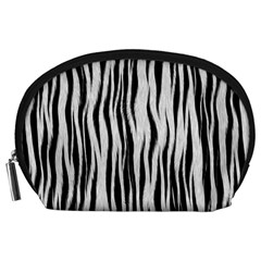 Black White Seamless Fur Pattern Accessory Pouches (large)  by Simbadda