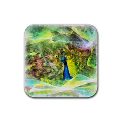 Peacock Digital Painting Rubber Coaster (square)  by Simbadda