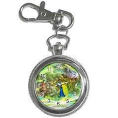 Peacock Digital Painting Key Chain Watches by Simbadda