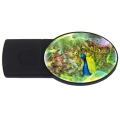 Peacock Digital Painting Usb Flash Drive Oval (4 Gb) by Simbadda