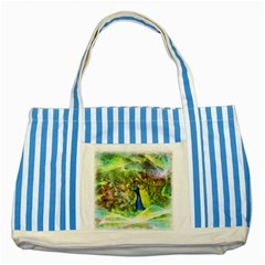 Peacock Digital Painting Striped Blue Tote Bag by Simbadda