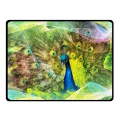 Peacock Digital Painting Fleece Blanket (small) by Simbadda