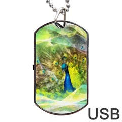 Peacock Digital Painting Dog Tag Usb Flash (two Sides) by Simbadda