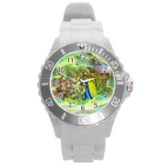 Peacock Digital Painting Round Plastic Sport Watch (l) by Simbadda