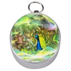 Peacock Digital Painting Silver Compasses by Simbadda