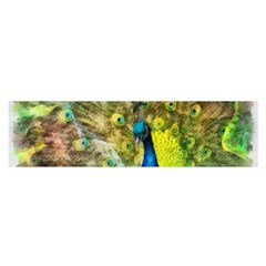 Peacock Digital Painting Satin Scarf (oblong) by Simbadda