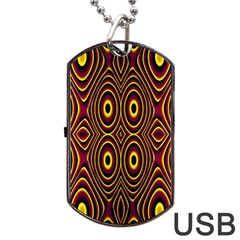 Vibrant Pattern Dog Tag Usb Flash (two Sides) by Simbadda