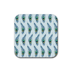 Background Of Beautiful Peacock Feathers Wallpaper For Scrapbooking Rubber Coaster (square)  by Simbadda