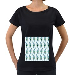 Background Of Beautiful Peacock Feathers Wallpaper For Scrapbooking Women s Loose Fit T Shirt (black) by Simbadda
