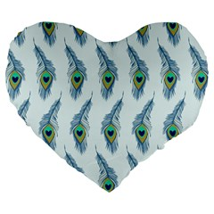Background Of Beautiful Peacock Feathers Wallpaper For Scrapbooking Large 19  Premium Flano Heart Shape Cushions by Simbadda