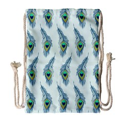 Background Of Beautiful Peacock Feathers Wallpaper For Scrapbooking Drawstring Bag (large) by Simbadda