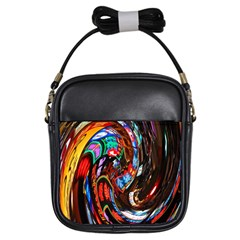 Abstract Chinese Inspired Background Girls Sling Bags by Simbadda