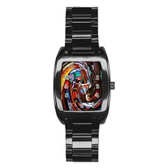 Abstract Chinese Inspired Background Stainless Steel Barrel Watch by Simbadda
