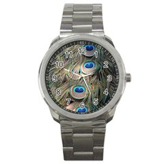 Colorful Peacock Feathers Background Sport Metal Watch by Simbadda