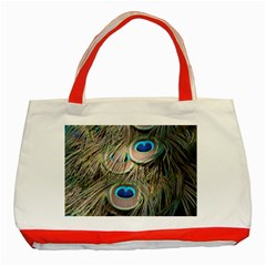 Colorful Peacock Feathers Background Classic Tote Bag (red) by Simbadda
