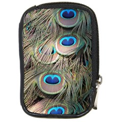 Colorful Peacock Feathers Background Compact Camera Cases by Simbadda