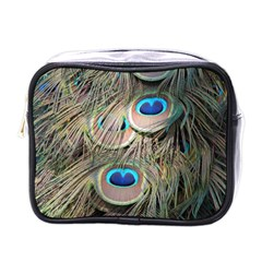 Colorful Peacock Feathers Background Mini Toiletries Bags