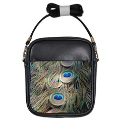 Colorful Peacock Feathers Background Girls Sling Bags by Simbadda