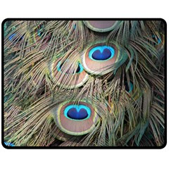 Colorful Peacock Feathers Background Fleece Blanket (medium)  by Simbadda