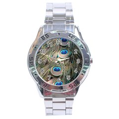 Colorful Peacock Feathers Background Stainless Steel Analogue Watch by Simbadda
