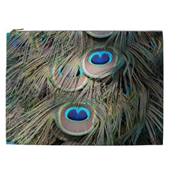 Colorful Peacock Feathers Background Cosmetic Bag (xxl)  by Simbadda