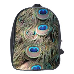 Colorful Peacock Feathers Background School Bags (xl)  by Simbadda