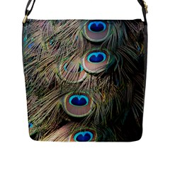Colorful Peacock Feathers Background Flap Messenger Bag (l)  by Simbadda