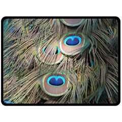 Colorful Peacock Feathers Background Double Sided Fleece Blanket (large)  by Simbadda
