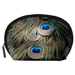 Colorful Peacock Feathers Background Accessory Pouches (large)  by Simbadda
