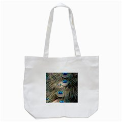Colorful Peacock Feathers Background Tote Bag (white) by Simbadda