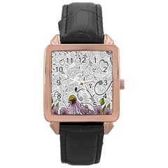 Abstract Pattern Rose Gold Leather Watch  by Simbadda