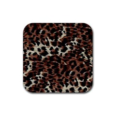 Background Fabric Animal Motifs Rubber Square Coaster (4 Pack)  by Simbadda